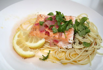 Slow roasted Salmon with Spring Herb Sauce